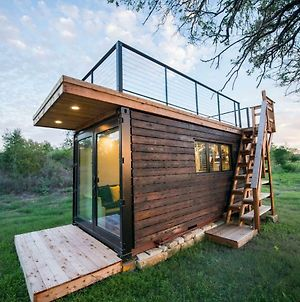 Elegant Container Tiny House Yellow & Blue photos Exterior